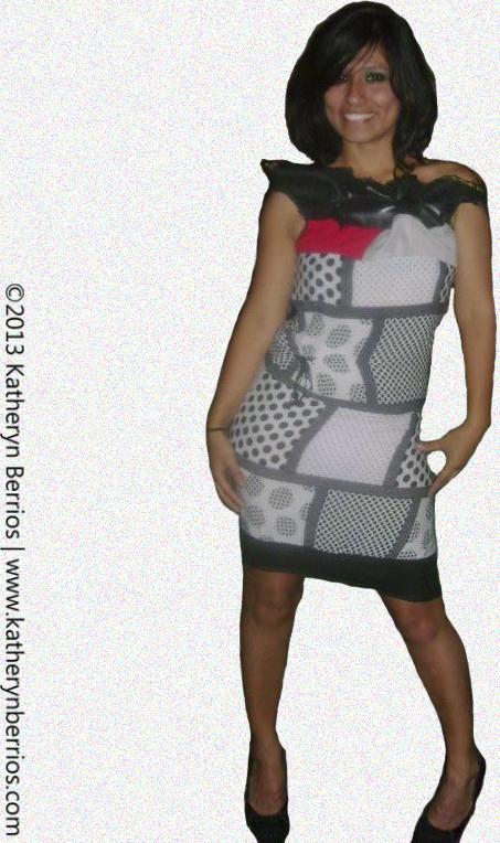 Diseñadora de Indumentaria peruana. Vestido mixto con caucho.