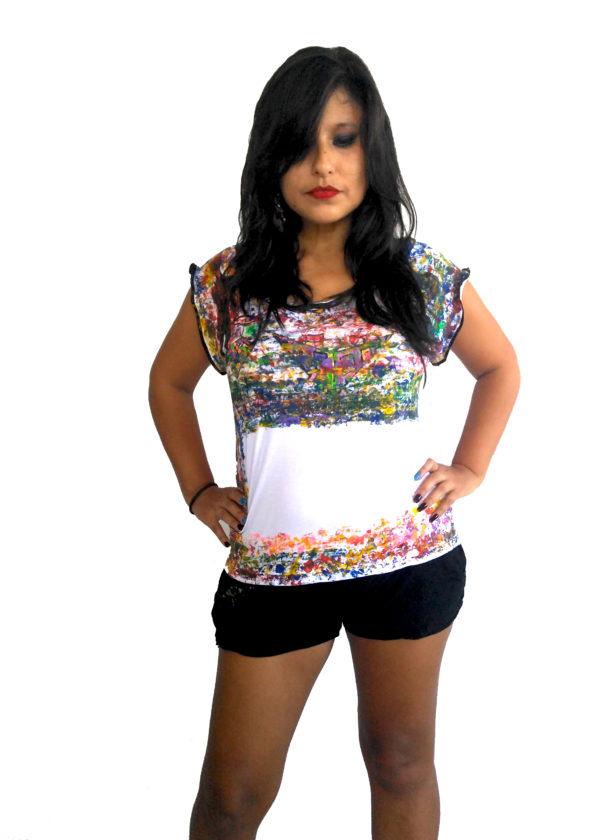 T-shirt Cascada de Color Niveles